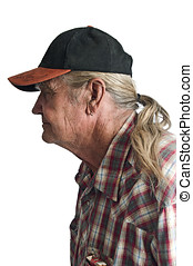 Senior man with a ponytail - Mature male with a ballcap and...