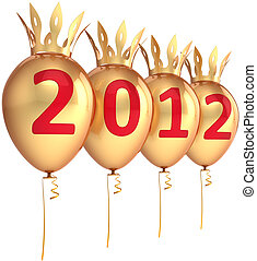 New 2012 Year balloons golden - 2012 New Years eve golden...