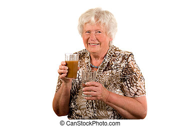 Senior lady with healthy drinks