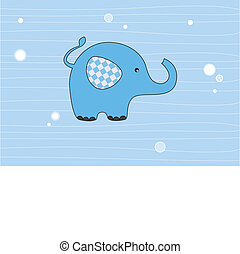 Elephant blue - Baby boy arrival announcement card. Elephant...