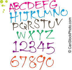 colorful Round pen font