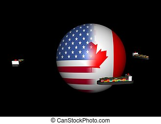ships around USA Canada flag sphere - Container ships around...