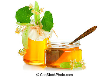 Honey and linden - Fresh sweet honey, linden flowers and...