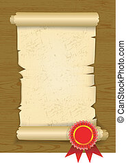Old manuscript on wooden floor with award rosette. Vector...