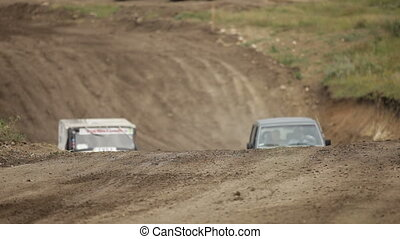Jeeps are racing - Extreme sports on race jeeps SIMFEROPOL,...