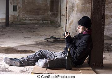 Homeless - Drunk Homeless Sitting on the Floor
