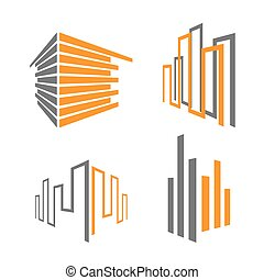 building icons - set of building icons, vector illustration