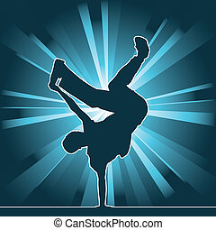 dancing silhouette, breakdance, vector illustration