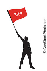 man holding a stop flag