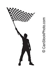 man holding a black and white checkered flag - vector...