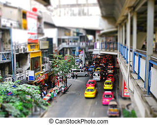 Bangkok street view with tilt-shift effect
