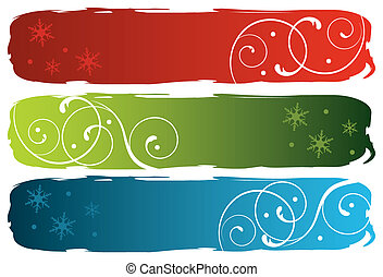 grungy winter banners, vector illustration