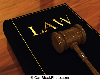 Judges gavel and law book ,3d illustration