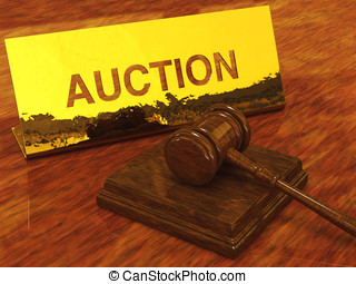 Auction hammer and plate , 3d illustration