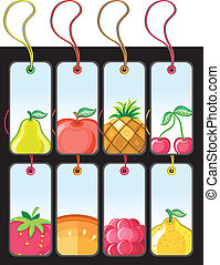 Set of fruit tags