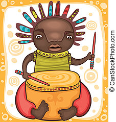 Ethnic, boy 2 - Colorful portrait of the African drummer...