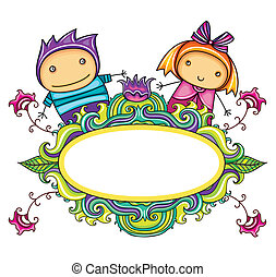 Floral curly frame with cute boy and girl floral series