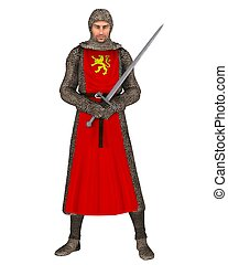 Norman Knight - Norman knight in chain mail and tabard, 3d...