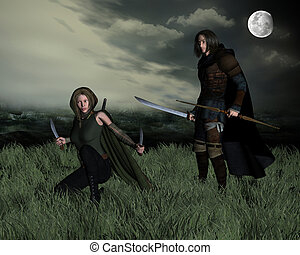 Hunters in the Moonlight - Hunters with bow and sword...