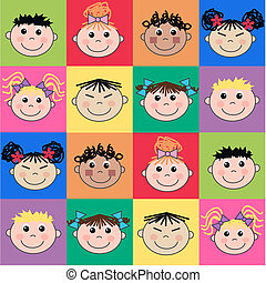ethnic mixed children - seamless pattern with mixed kids