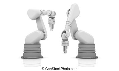 Industrial robotic arms building FAQ word isolated on white...