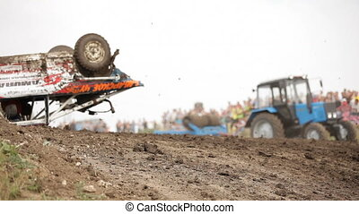 Racing car turned upside down - Extreme off-road racing to...