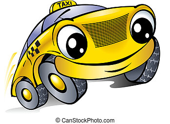 Car with a laughing face Taxi Illustration on white