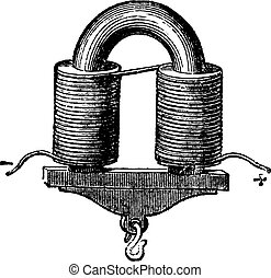 U-shaped Electromagnet, vintage engraved illustration....