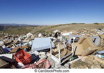 landfill - view of a landfill in a nature place
