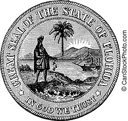 Seal of Florida, USA, vintage engraved illustration....
