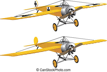 Retro airplane WWI - Vector isolated yellow retro airplane...
