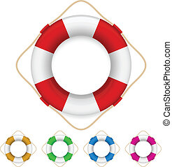 Set of life buoys Illustration on white background