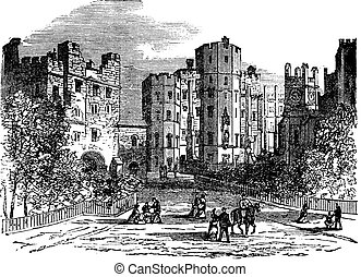 Lancaster castle, Lancashire vintage engraving. Old engraved...