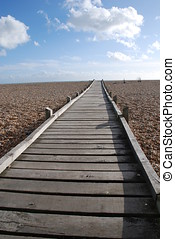 Board walk, Dungeness - A wooden board walk across the...