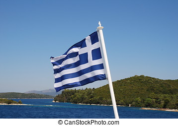 Greek flag, Lefkada - The Greek national flag flying from...