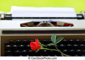 rojo, rosa, teclado, viejo, mecanografía,...