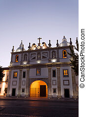 Pombal church at dusk - front view of Pombal church at dusk...