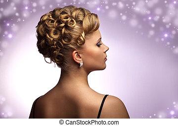 Modern wedding hairstyle. purple background