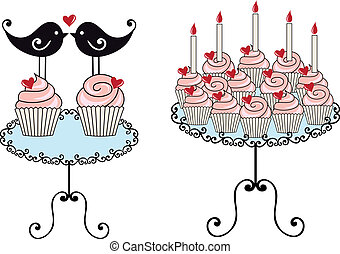 birthday cupcakes, vector - birthday cupcakes with hearts,...
