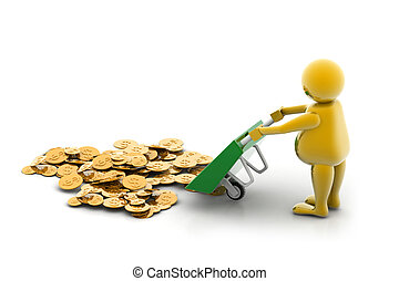 Gold Coin In Wheelbarrow - 3d multi use Gold Coin In...