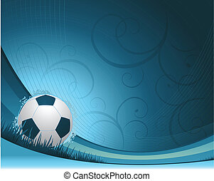 Soccer background - blue waving soccer background