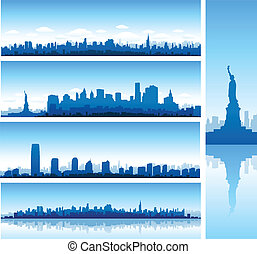 new york background - multiple new york city landscape