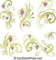 wine scroll shape - wine decorative ornament design