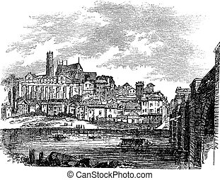 Old buildings at Limoges, France. vintage engraving - Old...