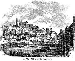 Old buildings at Limoges, France. vintage engraving - Old...