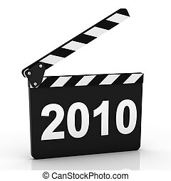 Opened Clapboard in Perspective with 2010 year - Opened...
