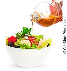 Oil stream and healthy fresh greek