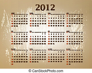 calendar 2012 - illustration of horizontal 2012 calendar at...