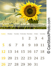 calendar 2012, August - Page of 2012 August month wall...