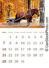 calendar 2012, October - Page of 2012 October month wall...